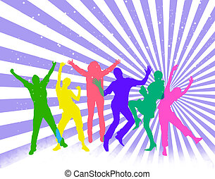 Happy people - Colored silhouettes of happy jumping people....