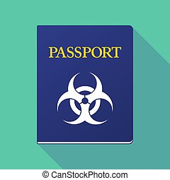 Long shadow passport with a biohazard sign - Illustration of...