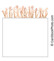 Hands up - A lot of hands Isolated over white background