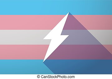 Long shadow transgender flag with a lightning