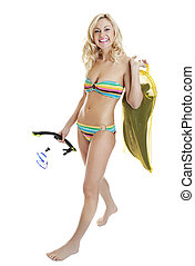 Full length portrait of sexy woman in bikini, holding diving suit and snorkel