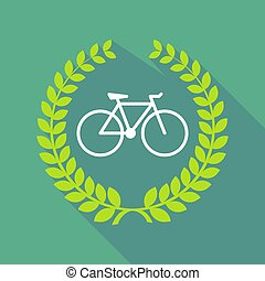 Long shadow laurel wreath with a bicycle