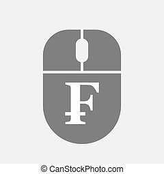 Isolated computer mouse with a swiss franc sign -...