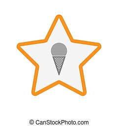 Isolated star with a cone ice cream