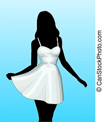 Girl In Sun Dress is an illustration of a silhouette of an...