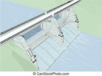 water dam. Hydroelectric power station. 10 EPS