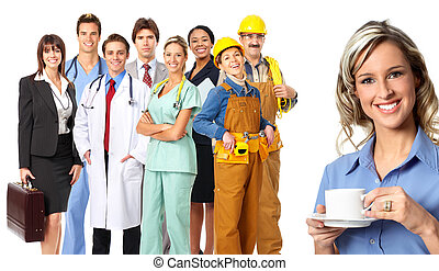 workers people - Large group of smiling workers people Over...