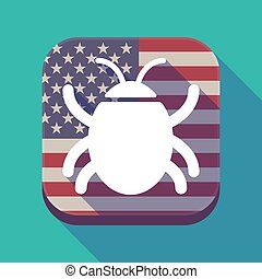 Long shadow USA app button with a bug