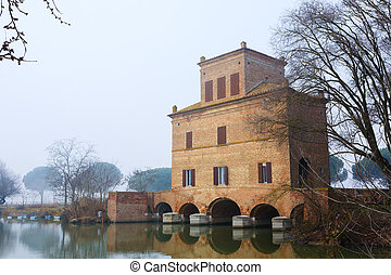 Ancient building from Po river lagoon, Italy - Ancient...