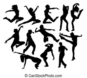 Hip Hop Jumping Silhouettes