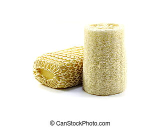loofah and sponge isolated on white background