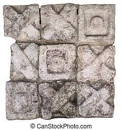 Maya tic tac toe isolated on white - Maya stone block...