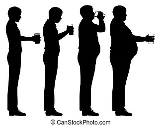 Beer belly sequence - Editable vector silhouette sequence of...