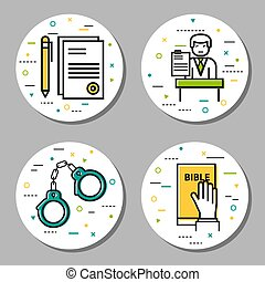 Four round law and judicial icons - Vector four round...