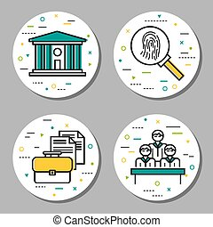 Four round law and investigation icons - Vector four round...