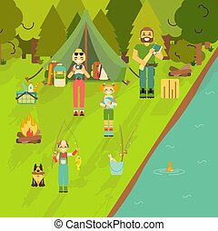 Happy family go camping and fishing. Vector illustration in flat style design. Cartoon people characters and tourist objects. Tent, fire, fishing rod, food, axe. Parents and kids on holiday