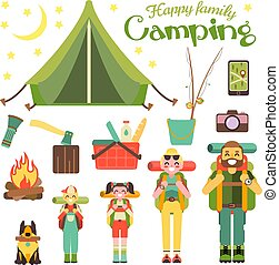 Happy family go camping. Vector illustration in flat style design. Cartoon people characters and tourist objects. Tent, fire, fishing rod, food, axe. Parents and kids with backpacks on holiday