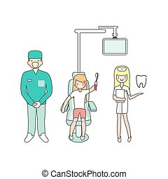 Dental care. Dentist doctor, nurse and patient in medical dental clinic. Girl in dentist chair. Vector cartoon people characters in linear style design. Line isolated icons.