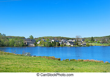 Landscape in French Limousin - Landscape with lake in French...