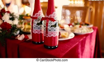 wedding bottle champagne red