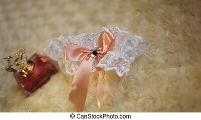 wedding garter white with lace