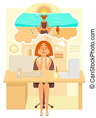Woman works in the office and dreams about going to summer vacation to the beach. Girl dreaming about meditation at the sea. Vector cartoon character in flat style design.
