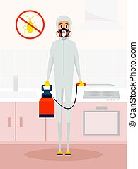 Pest control service worker in chemical protective suit. Vector cartoon character in flat style design. Extermination or domestic insect disinfection concept poster.