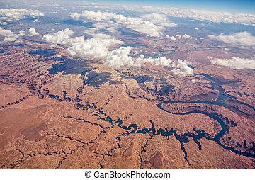 ハエ, 山, アリゾナ, 航空写真, 上に, 峡谷, 壮大