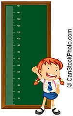 Height measurement chart with little girl illustration