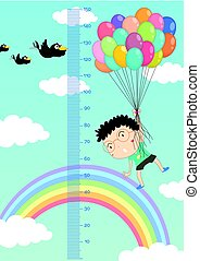 Height measurement chart with boy flying balloons in sky background