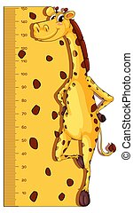 Height measurement chart with giraffe in background