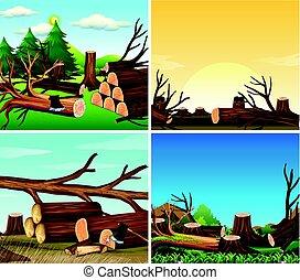 Four scenes of deforestation illustration