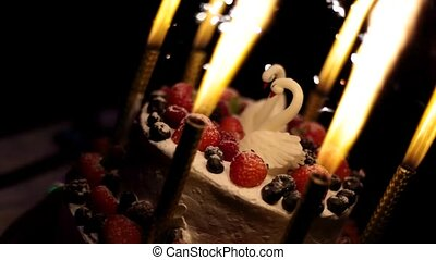wedding cake with swans and fire. Close-up