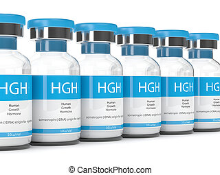 3d render of HGH vials over white - 3d render of HGH vials...