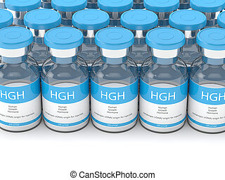 3d render of HGH vials in row over white background