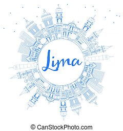 Outline Lima Skyline with Blue Buildings and Copy Space.