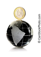 coin 1 euro on a glass globe