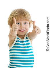 男の子, 子供, の上, 親指, 手, 幸せ