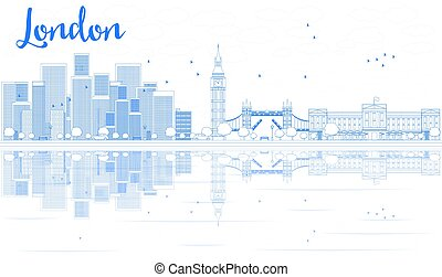 Outline London skyline with blue skyscrapers and reflections.