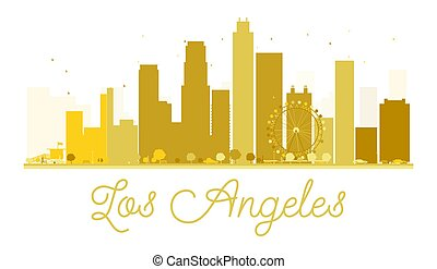 Los Angeles City skyline golden silhouette.