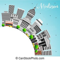 Madison Skyline with Gray Buildings, Blue Sky and Copy...