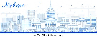 Outline Madison Skyline with Blue Buildings. Vector...