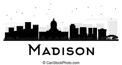 Madison City skyline black and white silhouette. Vector...