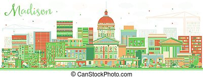 Abstract Madison Skyline with Color Buildings. Vector...
