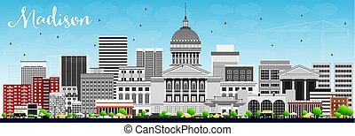 Madison Skyline with Gray Buildings and Blue Sky. Vector...
