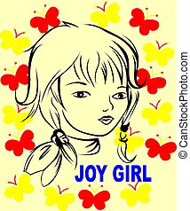joy girl with butterfly