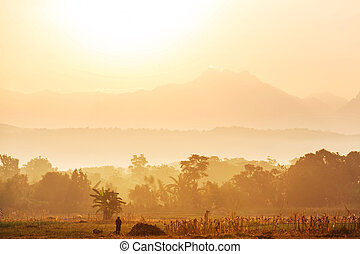 Luzon landscapes - Majestic sunrise in the rural landscape....