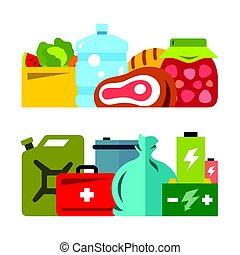Vector Survival kit. Flat style colorful Cartoon...
