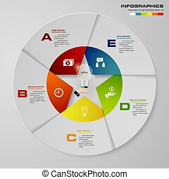 Abstract 5 steps modern pie chart infographics elements.