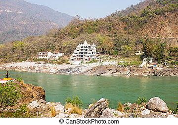The river Ganges near Laxman Jhula in India Asia